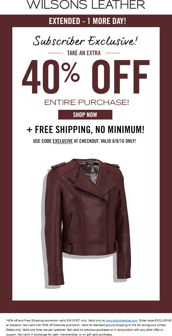 WilsonsLeather.com Promo Coupon 40% off online today at Wilsons Leather via promo code EXCLUSIVE
