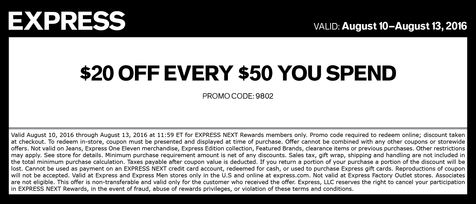 Express Coupon October 2016 $20 off every $50 at Express, or online via promo code 9802