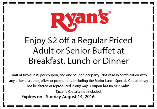 Ryans.com Promo Coupon $2 off your buffet at Ryans restaurants