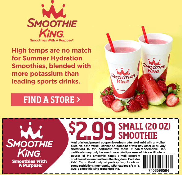 Smoothie King Coupon February 2017 $3 smoothie at Smoothie King