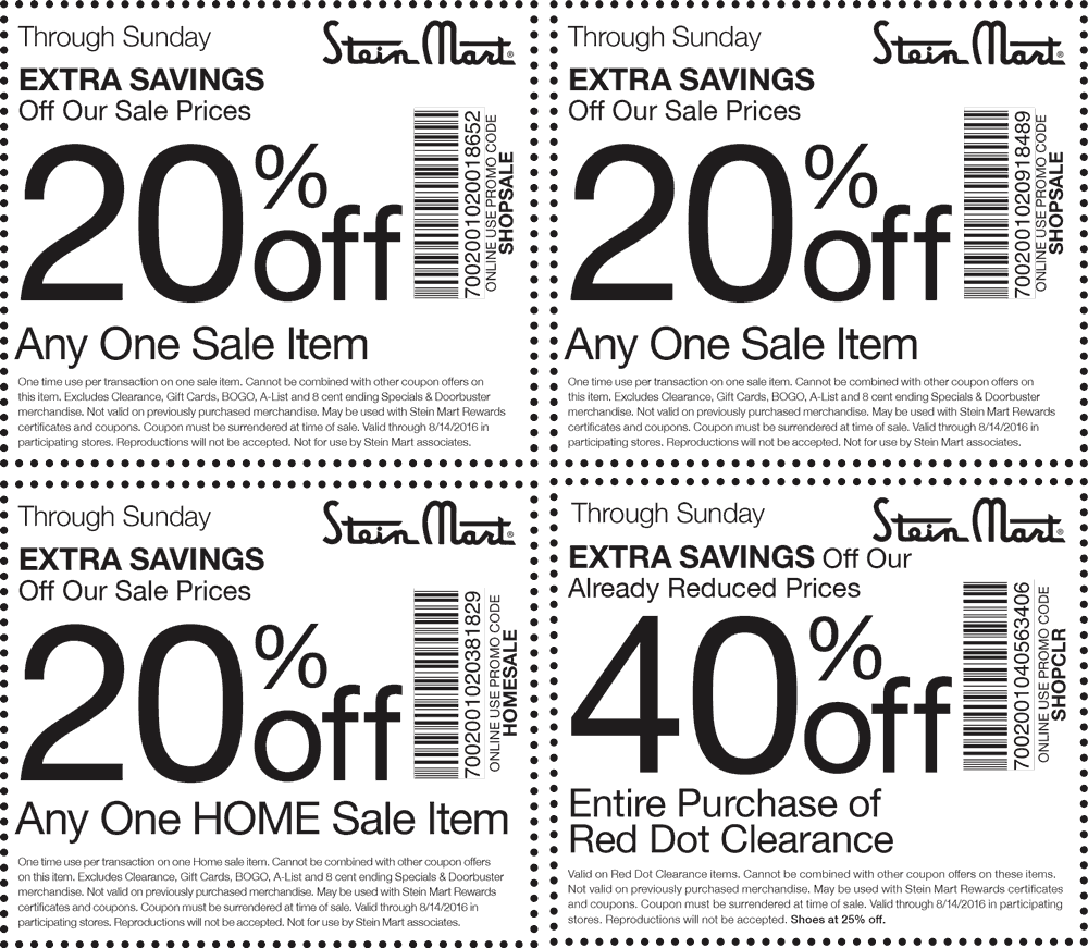 Stein Mart Coupon December 2016 Extra 40% off clearance & more at Stein Mart, or online via promo code SHOPCLR