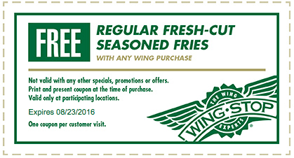 Wingstop Coupon December 2016 Free fries with your wings at Wingstop