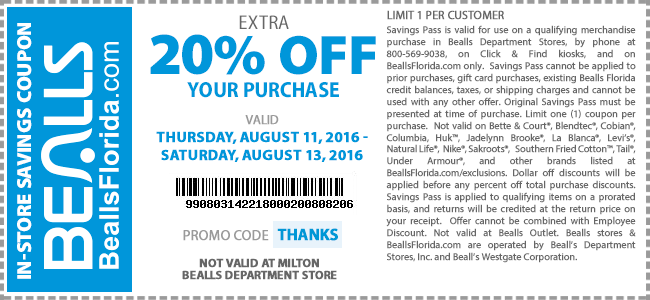 Bealls Coupon August 2017 Extra 20% off at Bealls, or online via promo code THANKS