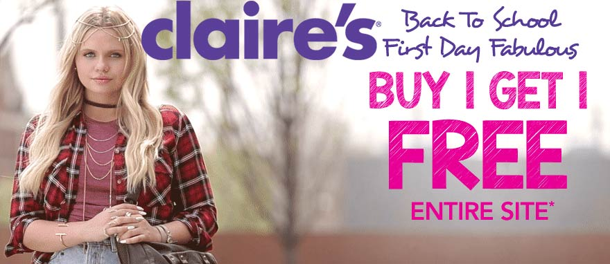Claires Coupon July 2017 Second item free on everything online at Claires