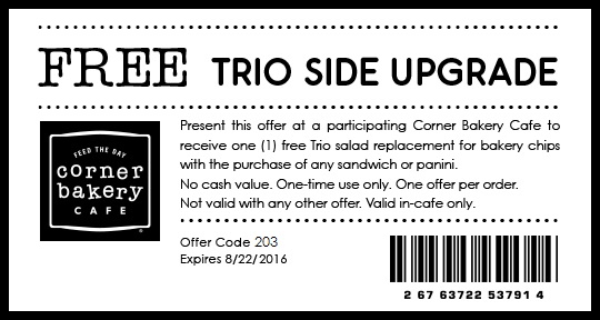Corner Bakery Cafe Coupon December 2016 Free salad with your sandwich at Corner Bakery Cafe