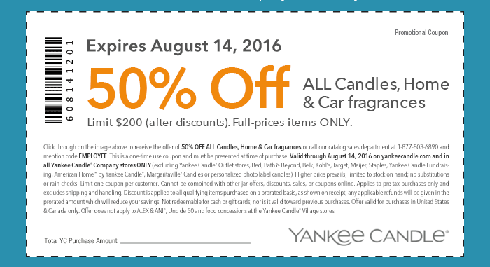 Yankee Candle Coupon May 2017 50% off candles & fragrances at Yankee Candle, or online via promo code EMPLOYEE