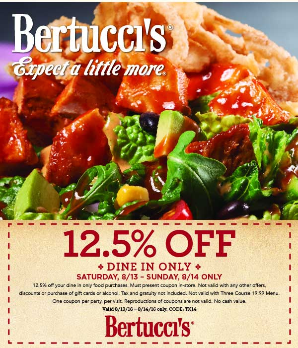 Bertuccis Coupon March 2017 12% off this weekend at Bertuccis restaurants