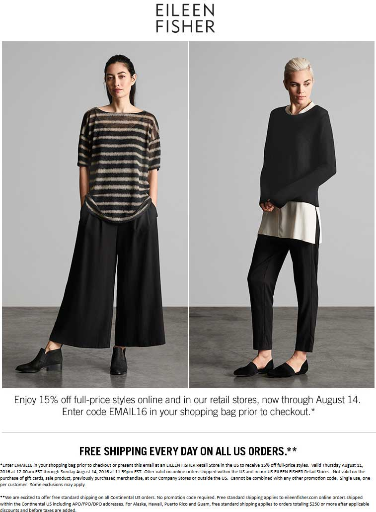 Eileen Fisher Coupon August 2017 15% off at Eileen Fisher, or online via promo code EMAIL16
