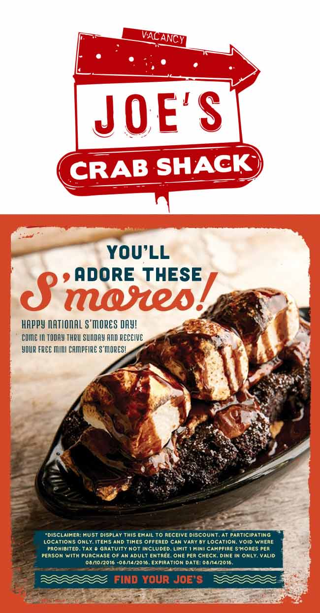 JoesCrabShack.com Promo Coupon Free smores with your entree at Joes Crab Shack