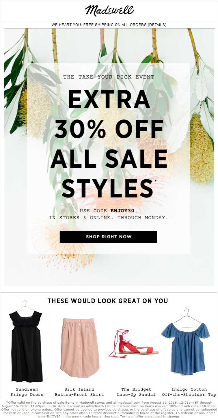 Madewell Coupon May 2018 Extra 30% off sale items at Madewell, or online via promo code ENJOY30