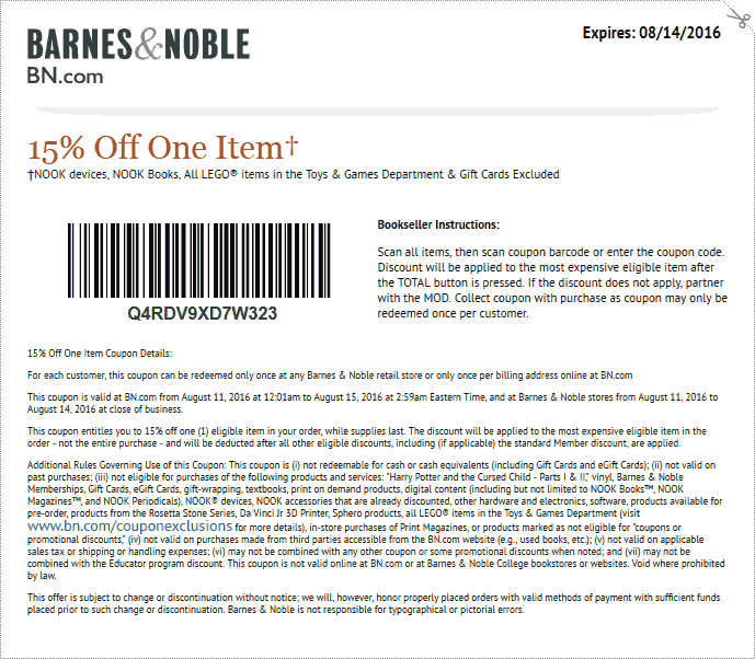 Barnes & Noble Coupon March 2017 15% off a single item at Barnes & Noble