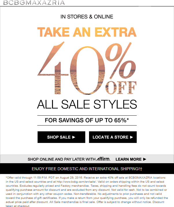 BCBGMAXAZRIA Coupon June 2017 Extra 40% off sale items at BCBGMAXAZRIA, ditto online