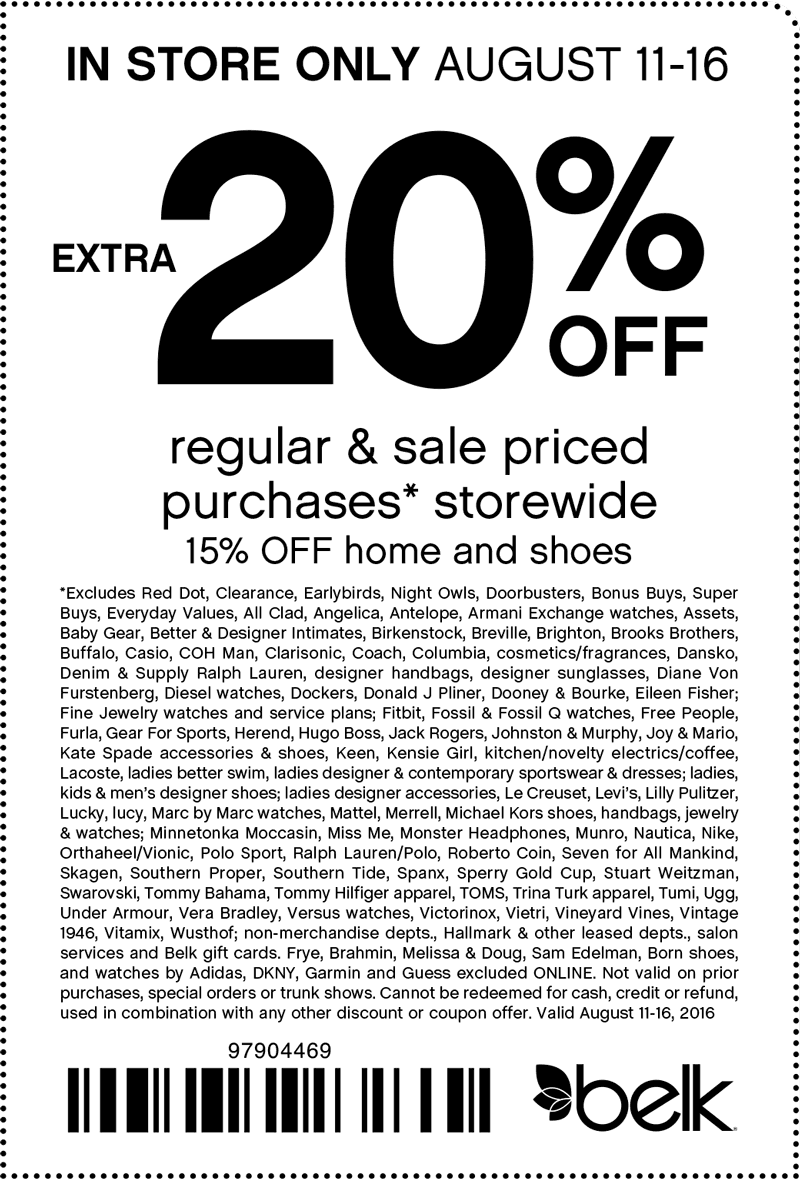 Belk Coupon August 2017 Extra 20% off at Belk