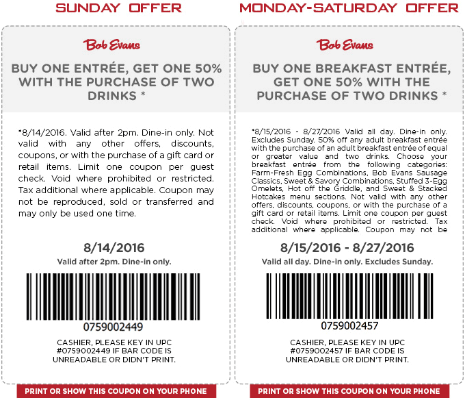 Bob Evans Coupon October 2016 Second breakfast 50% off & more at Bob Evans