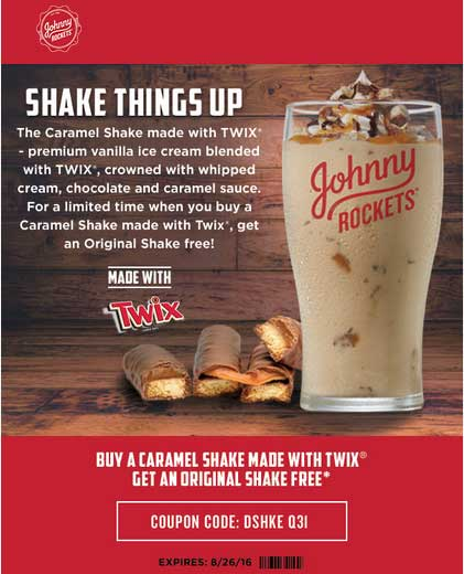 Johnny Rockets Coupon September 2017 Second milkshake free at Johnny Rockets restaurants