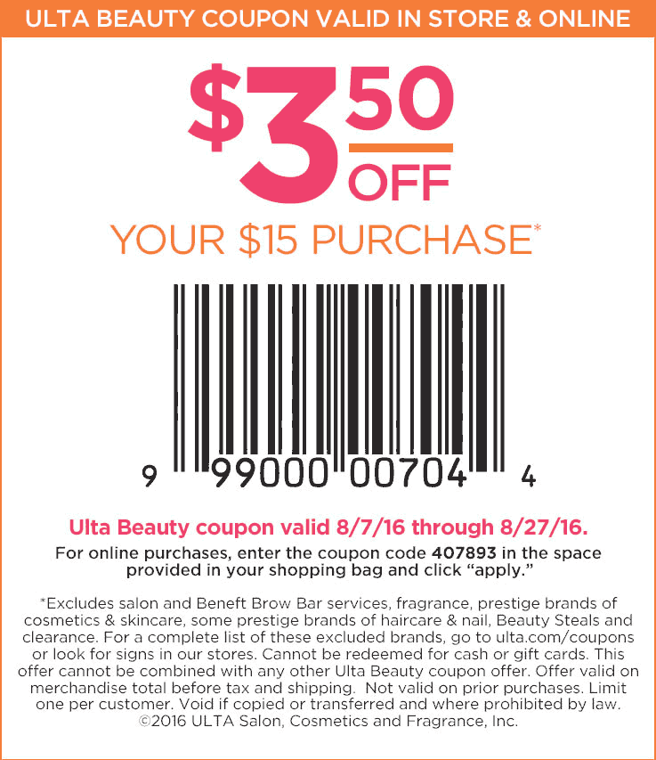 Ulta Coupon August 2017 $3 off $15 at Ulta Beauty, or online via promo code 407893