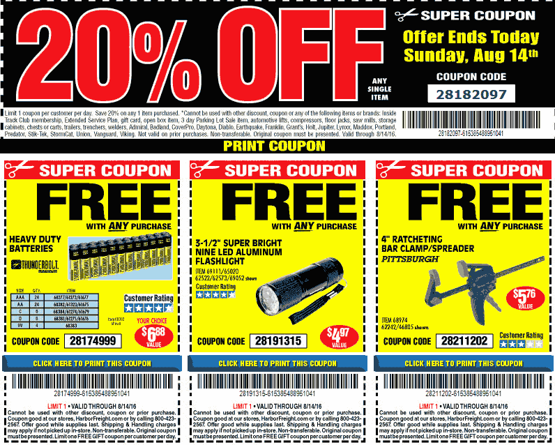 HarborFreight.com Promo Coupon 20% off a single item today at Harbor Freight tools