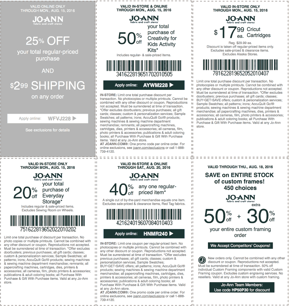 Jo-Ann Fabric Coupon October 2018 40% off a single item at Jo-Ann Fabric, or online via promo code HNMR240
