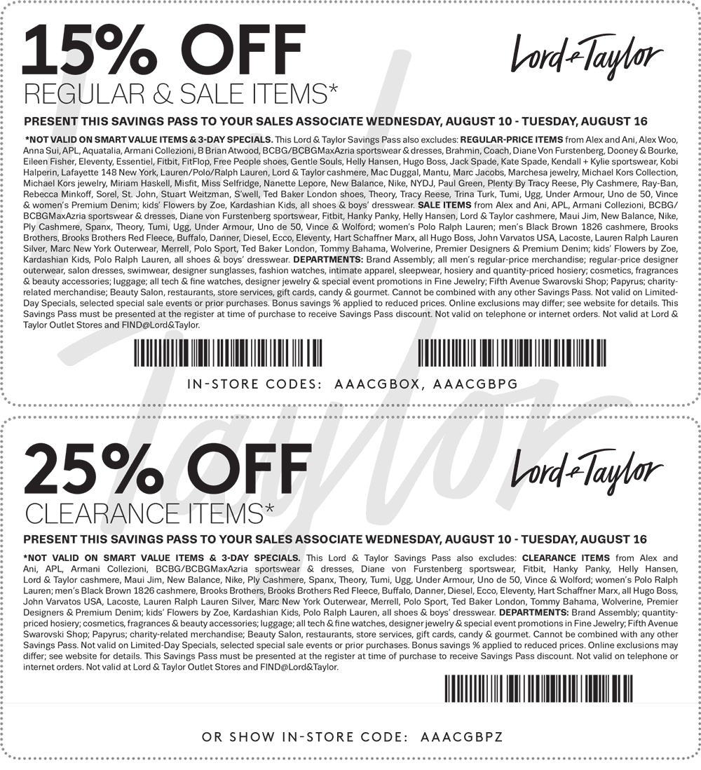 Lord & Taylor Coupon January 2017 Extra 15-25% off at Lord & Taylor, or online via promo code FINAL