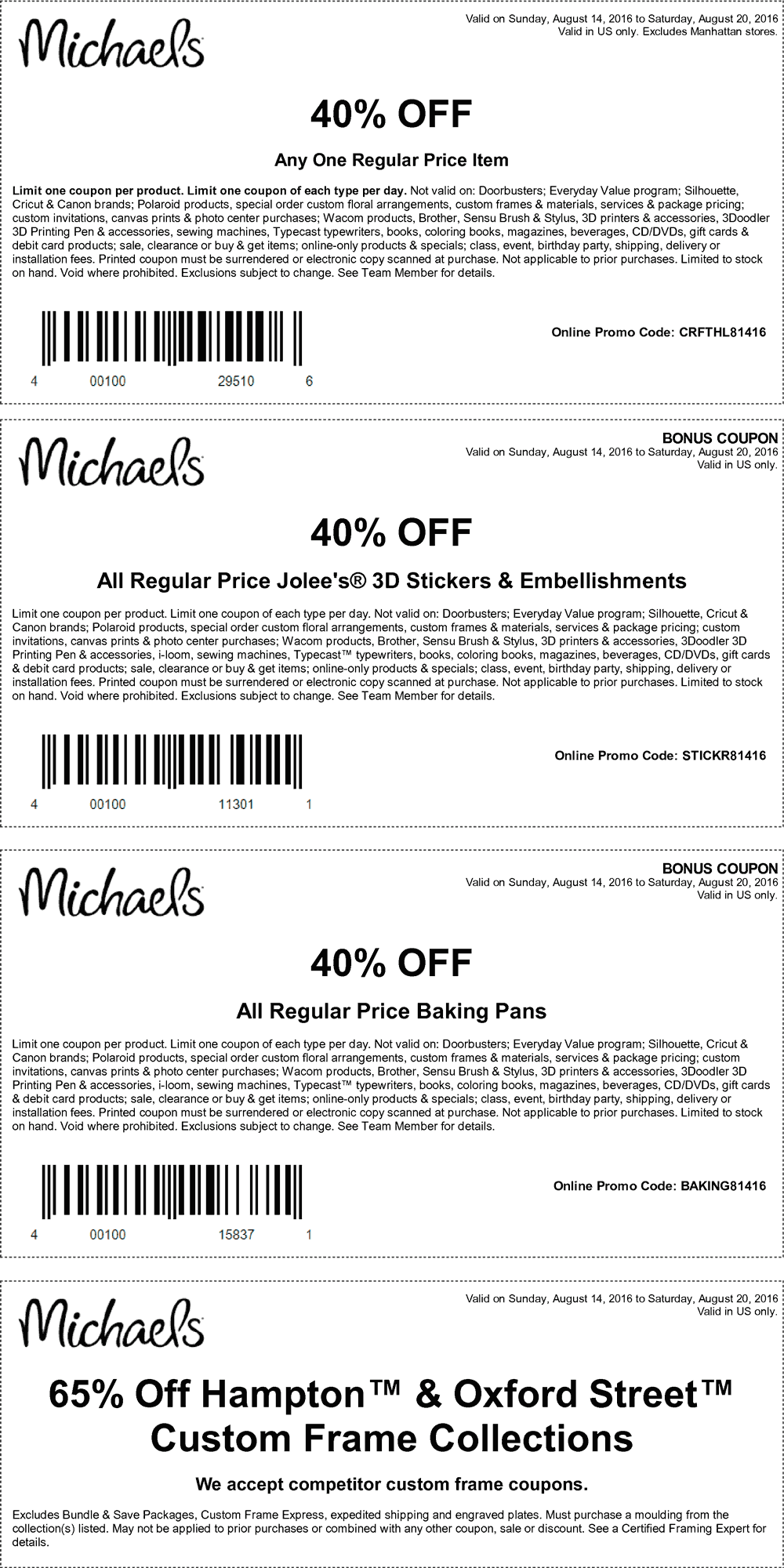 Michaels Coupon January 2017 40% off a single item at Michaels, or online via promo code CRFTHL81416
