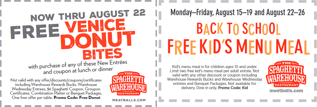 Spaghetti Warehouse Coupon September 2017 Free kids meal & more at Spaghetti Warehouse