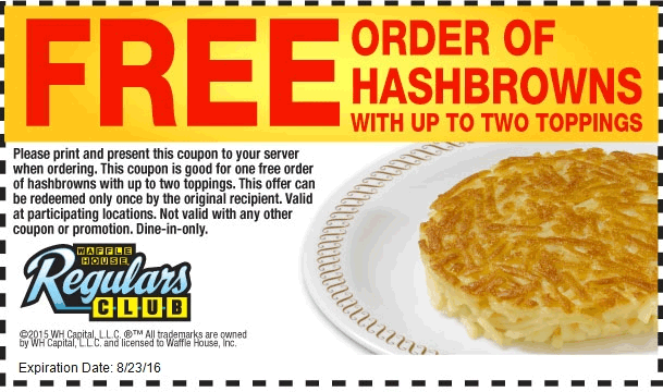 WaffleHouse.com Promo Coupon Free hash browns at Waffle House restaurants