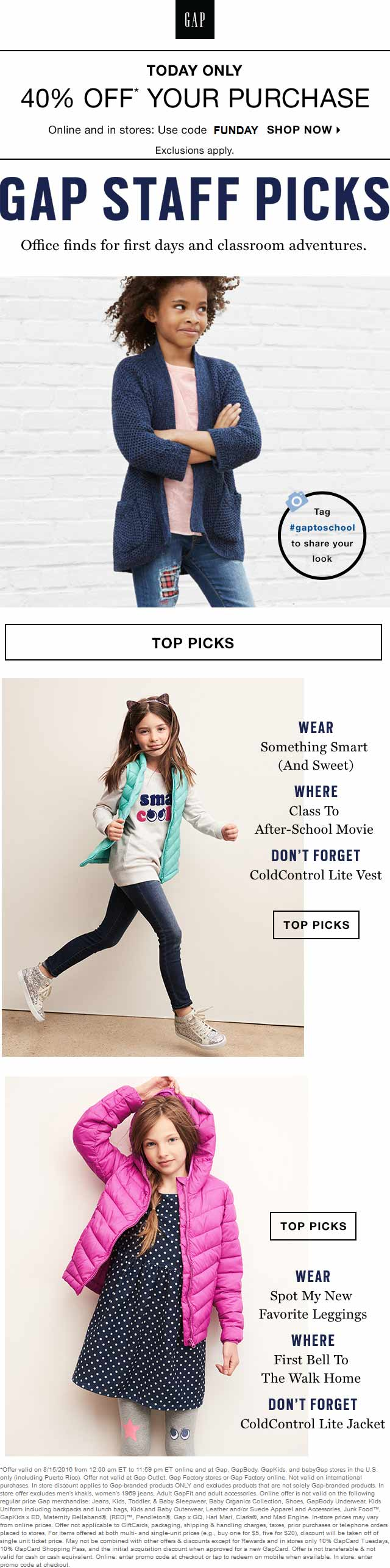 Gap Coupon October 2016 40% off today at Gap, or online via promo code FUNDAY