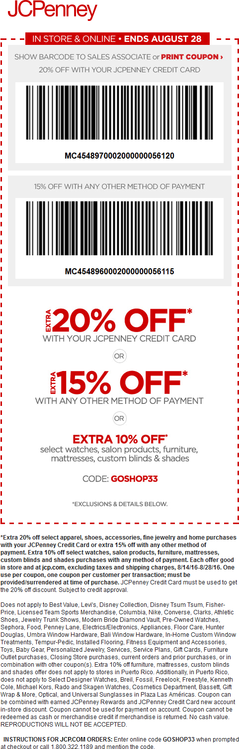 JCPenney Coupon January 2017 15% off at JCPenney, or online via promo code GOSHOP33