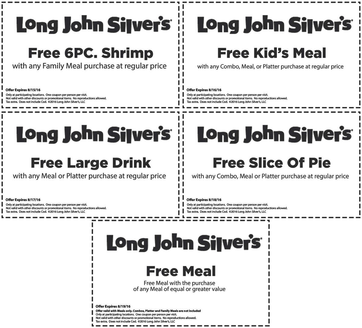 Long John Silvers Coupon March 2017 Second meal free & more at Long John Silvers