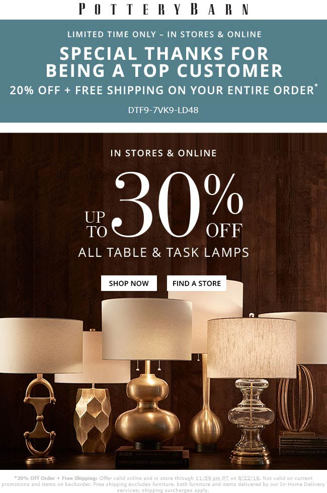 Pottery Barn Coupon April 2017 20% off at Pottery Barn, or online with free shipping via promo code DTF9-7VK9-LD48