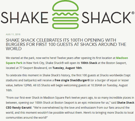 Shake Shack Coupon August 2017 Free burger to first 100 today at all Shake Shack locations