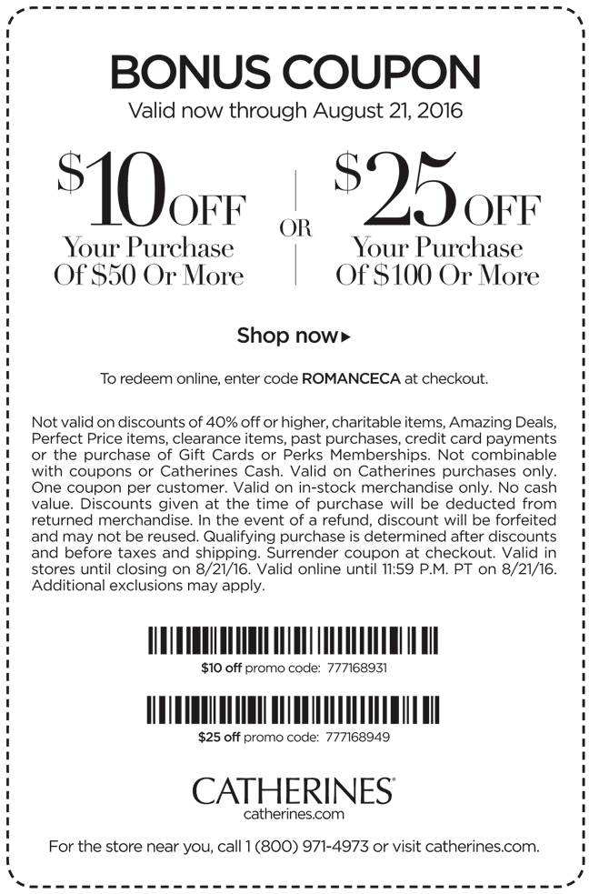 Catherines Coupon October 2016 $10 off $50 at Catherines, or online via promo code ROMANCECA