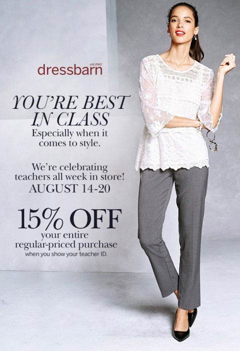 Dressbarn Coupon June 2018 Teachers enjoy 15% off at Dressbarn