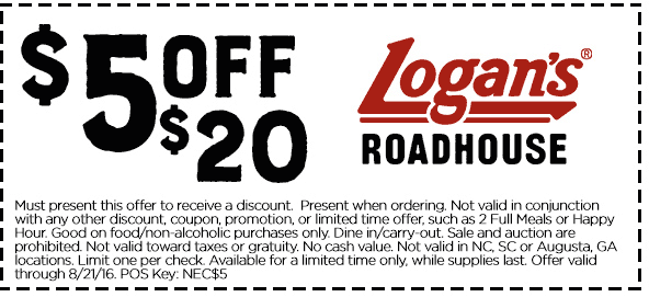 Logans Roadhouse Coupon March 2017 $5 off $20 at Logans Roadhouse restaurants
