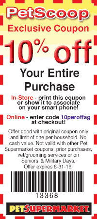 Pet Supermarket Coupon January 2018 10% off everything at Pet Supermarket, or online via promo code 10peroffag
