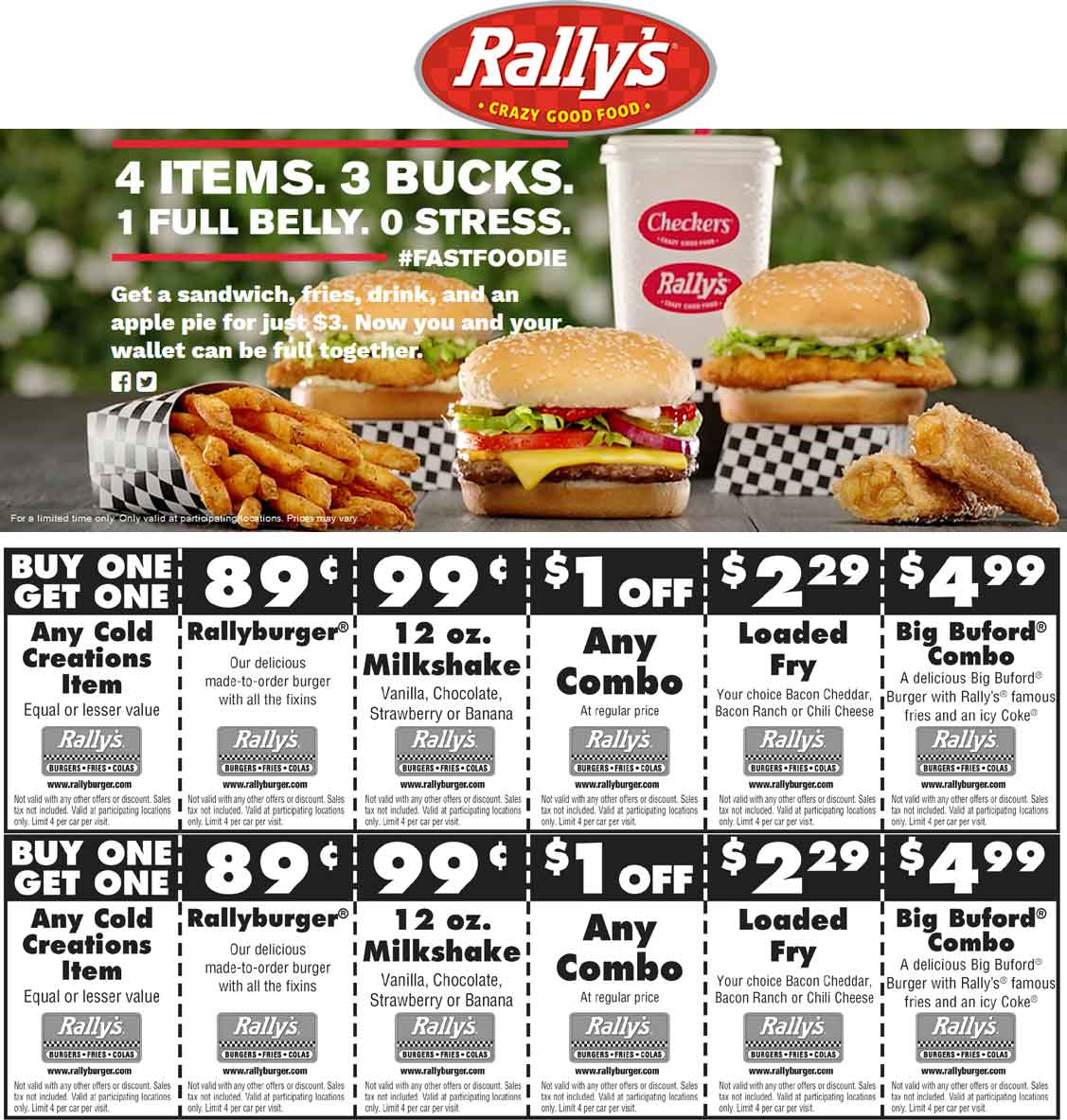 Rallys Coupon July 2017 Sandwich + fries + drink + pie = $3 & more at Rallys restaurants