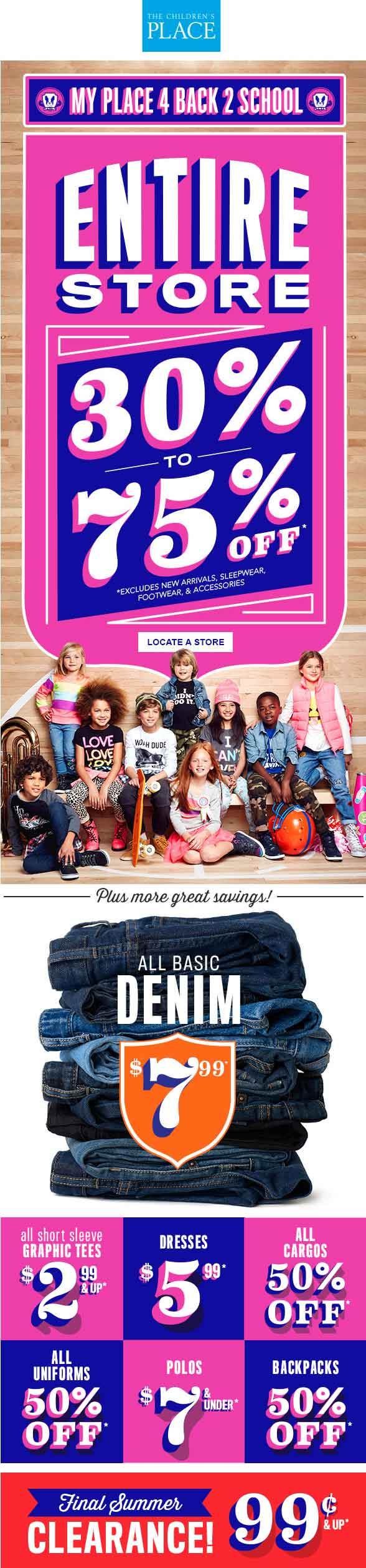 TheChildrensPlace.com Promo Coupon 30-75% off everything at The Childrens Place, or 50% online no code needed