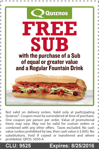 Quiznos Coupon October 2017 Second sub free with your drink at Quiznos