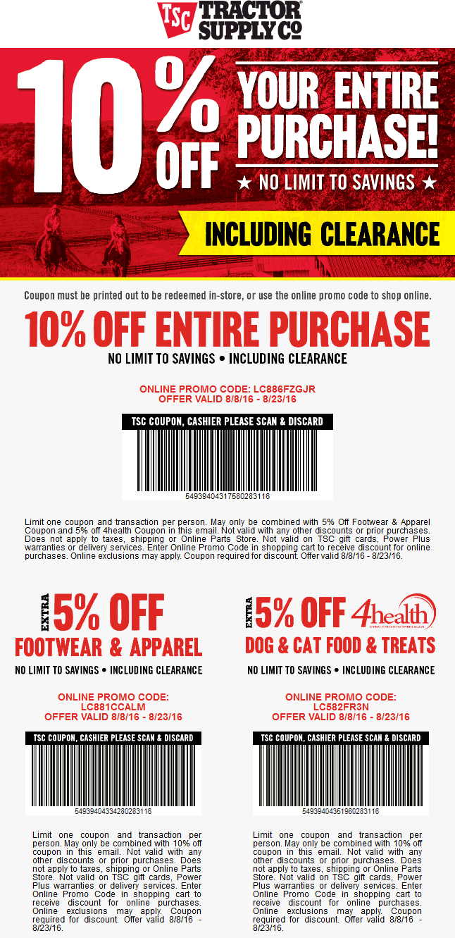 Tractor Supply Co Coupon September 2017 10% off the tab at Tractor Supply Co, or online via promo code LC886FZGJR