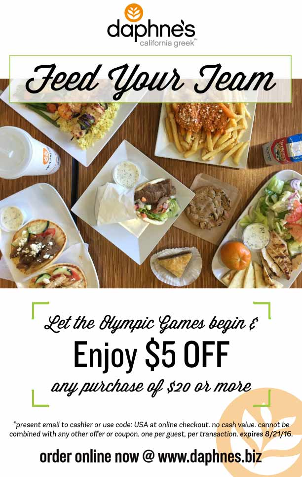 Daphnes.com Promo Coupon $5 off $20 at Daphnes Greek restaurants