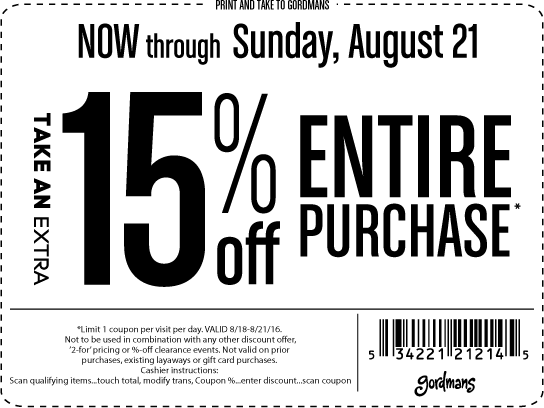 Gordmans Coupon June 2017 Extra 15% off everything at Gordmans
