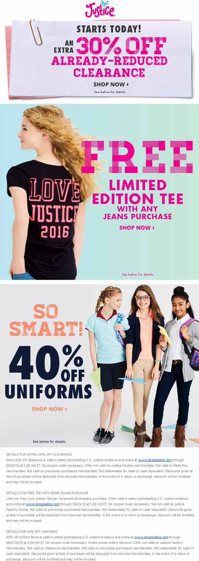Justice Coupon March 2017 Extra 30% off clearance, 40% off uniforms, free shirt with jeans at Justice, ditto online