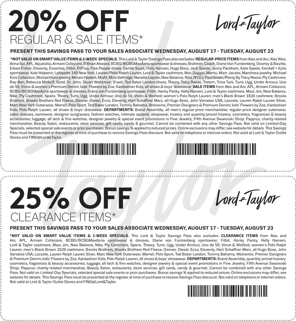 Lord & Taylor Coupon March 2018 20-25% off at Lord & Taylor, or online via promo code FALL