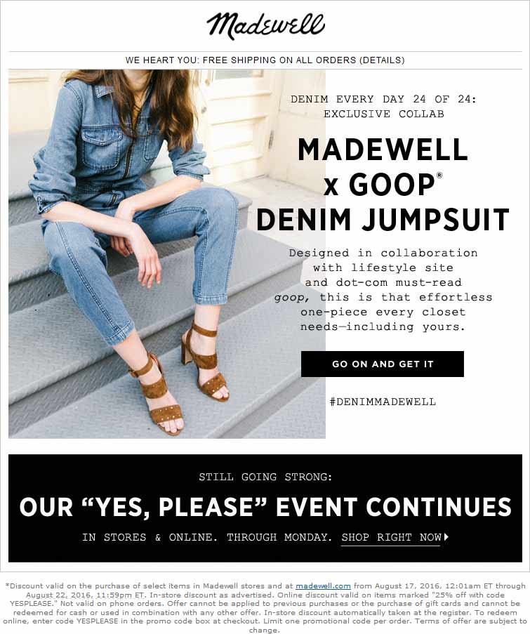 Madewell Coupon June 2017 25% off at Madewell, or online via promo code YESPLEASE