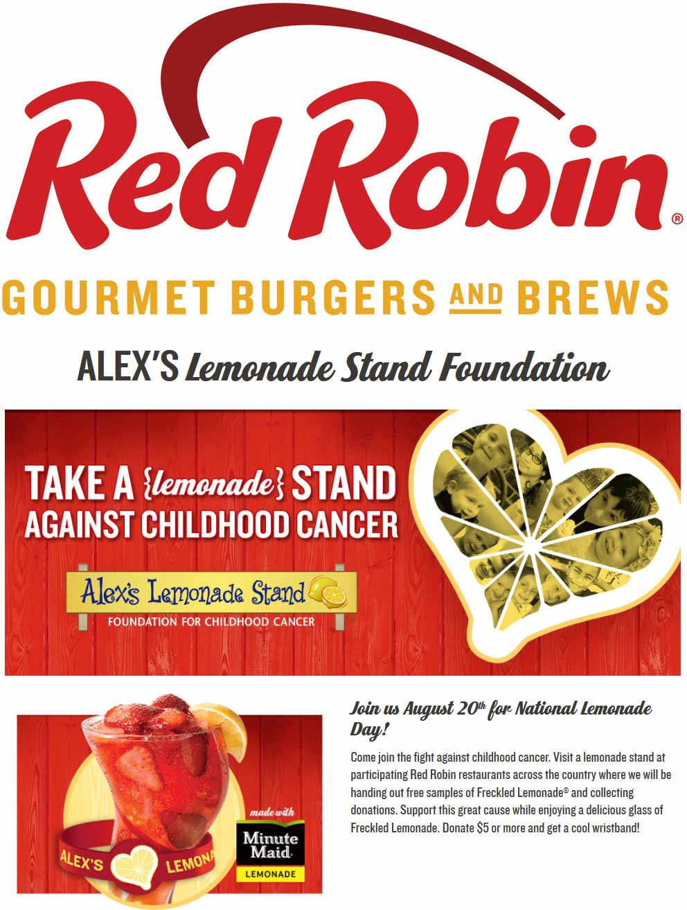 Red Robin Coupon August 2017 Free lemonade for charity Saturday at Red Robin restaurants