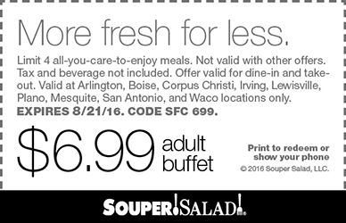Souper Salad Coupon September 2017 $7 bottomless buffet at Souper Salad