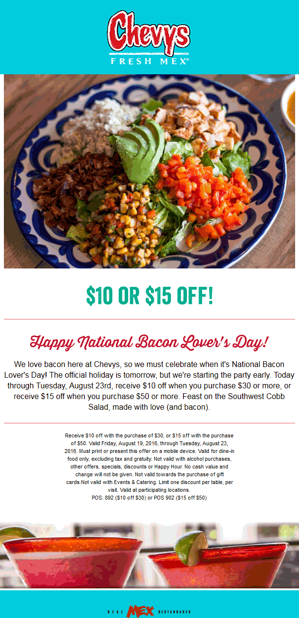 Chevys Fresh Mex Coupon March 2017 $10 off $30 & more at Chevys Fresh Mex restaurants