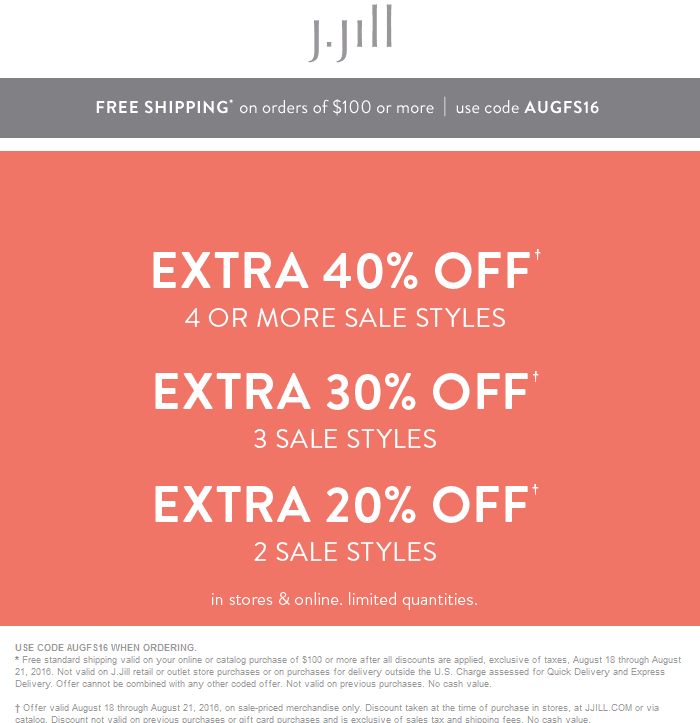 J.Jill Coupon March 2019 20-40% off at J.Jill, or online via promo code AUGFS16