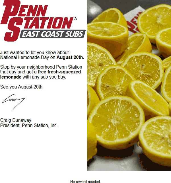 PennStation.com Promo Coupon Free lemonade Saturday at Penn Station subs