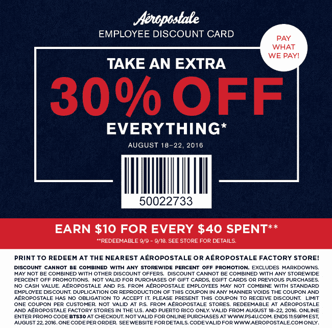 Aeropostale Coupon March 2017 Extra 30% off everything at Aeropostale, or online via promo code BTS30